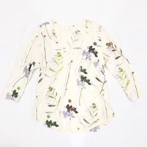 Anthropologie cream floral long sleeve tee shirt
